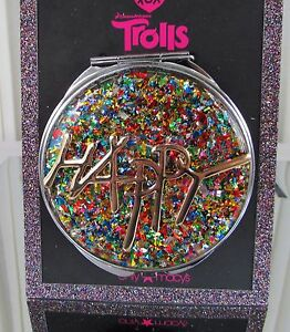 Betsey Johnson Trolls HAPPY Compact Mirror Rainbow Confetti NWT