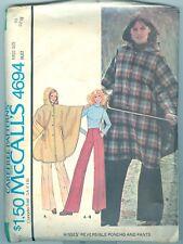 McCalls 4694 Original 1975 Reversible Poncho and Pants Pattern size 10