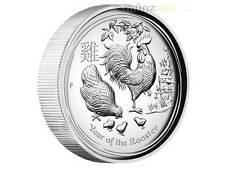 1 $ Dollar Lunar II Jahr Hahn Rooster High Relief Australien 2017 PP 1 oz Silber