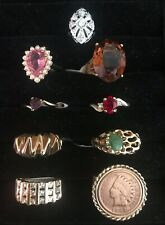 18 K HGE & HGF Rings Indian Head Penny Jade CZ 9 Pieces Lot Sz 8 Ana BeKoach