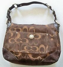 COACH CHELSEA OPTIC C'S LEATHER SUEDE NYLON SILVER TURNLOCK 10142 SHOULDER BAG