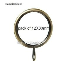 12 X 30mm Strong Metal Curtain Rings With Eyes Pole Antique Brass UK SELLER