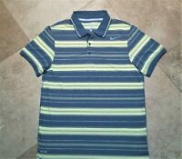 Nike Tennis Dri Fit Short Sleeve Polo Golf Shirt Striped Polyester Gray Yellow L