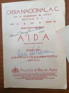 MARIA CALLAS & MARIO DEL MONACO AUTOGRAPH FAMOUS AIDA MEXICO 1951 PROGRAM