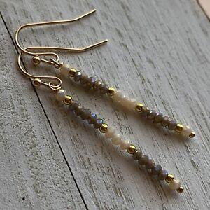 Min Favorit Khaki & Cream AB Glass Crystal Bead w/ Gold Artisan Stick Earrings