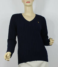 Ralph Lauren Sweater Womens Small Blue Gold Logo Cable Knit V-neck Cotton