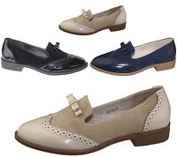 Ladies Slip On Brogues Womens Bow Embellished Casual Oxford Loafers Shoes Size