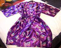 Fremantle Dockers AFL Mens Purple Satin Kimono Dressing Gown Robe One Size New