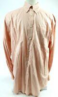 Orvis Men's Long Sleeve Button Down Shirt Sz XL Cotton Coral Orange White Checks