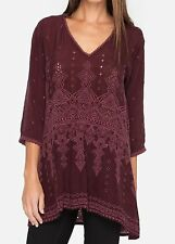 $290 NWT Johnny Was Falling Star Embroidered Georgette Blouse Top Tunic 2X-3X