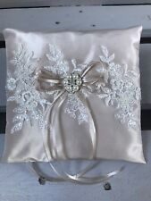FAB Champagne Wedding Ring Cushion Bearer Pillow Sparkly Lace Pearl Diamanté