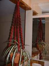 Macrame Plant Hanger WINE and BURGUNDY 8 Red BEADS