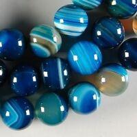 "6mm 8mm 10mm Blue Stripe Agate Onyx Gem Round Loose Beads 15"""