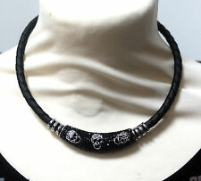 Butler and Wilson Crystal & Enamel 3 Skull Leather Braided Magnetic Necklace NEW