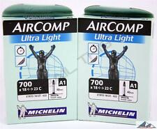 2 (Two) x Michelin AirComp Ultra-Light 700x18/23 Presta 40mm Road Bicycle Tubes