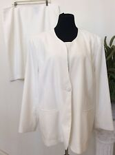Tally Taylor Women's Career Cream 100% Polyester 3 Piece Skirt Suit Size 22W EUC