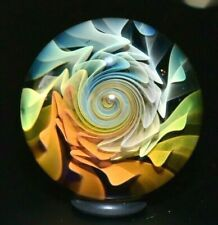 """ETHAN LESCH GLASS MARBLE/1.479""""-TRANSPARENT WIG-WAG FLOWER-TURQ. LUTZ,BUTTERNUT+"""