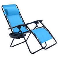 Patio Chairs Zero Gravity Chair Lounge Chaise Recliners Folding with Pillow Tray