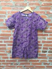7fe7a0b9661 Vintage 80s Romper Playsuit Womens Purple Chain Print Gold Buttons One  Piece 713