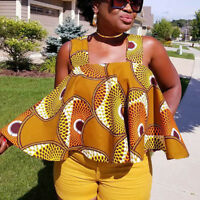Womens African Print Sleeveless Tops Strapless Blouse Plus Size Casual T Shirts