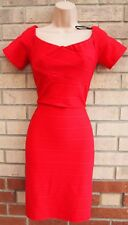 PRIMARK RED STRIPED QUILTED FEEL BODYCON TUBE PENCIL PARTY TEA DRESS 14 L