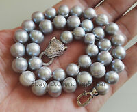 charm 10-11mm graue Süßwasser-Perlen halskette 17 zoll + leopard kopf verschluss