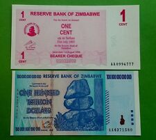 ! ZIMBABWE $100 Trillion & 1 cent banknotes set. UNCIRCULATED / MINT !