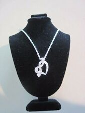 Swarovski Swan Signed Silvertone Heart Pendant w/ Necklace Chain See Note 481