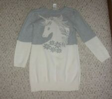 Gray & White Gymboree L/S Sweater Dress w/ Unicorn, Fairy Tale Forest Outlet, 10