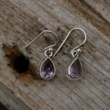 Handmade 925 Sterling Silver Amethyst Gemstone Teardrop Drop/Dangle Earrings