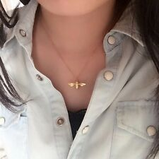 """Brushed 18ct Gold Dipped Bumble Bee pendant Necklace 18"""" Chain small Delicate"""