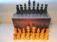 Vintage weighted Staunton Style Chess Set Large Pieces 4.5 inch King wooden box