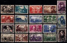 L'ANNÉE 1940 Complète, Oblitérés = Cote 113 € / Lot Timbres France 451 à 469