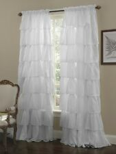 Crushed Voile Sheer Shabby Chic Ruffle Window Curtain Panel White 60wx63l