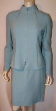 ST. JOHN Blue Wool Sheath Dress & Jacket 6 Suit NWOT Hand Sewn Pleats Textured