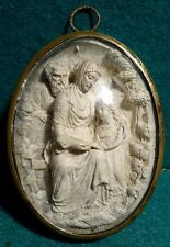 ST ANNE, ST JOACHIM & VIRGIN MARY Antiq 19th C. MEERSCHAUM PLAQUE- BRASS FRAME