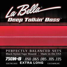 LA BELLA 750N-B-XL BLACK NYLON TAPE WOUND BASS STRINGS, EXTRA LONG 5's - 50-135
