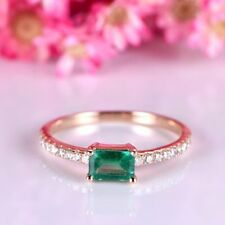 2Ct Emerald Cut Emerald Simulant Diamond Engagement Ring Silver Rose Gold Finish