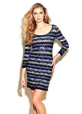 GUESS BLUE CHEVRON KNIT BODYCON DRESS Open Back Sz Small Worn once VGUC !