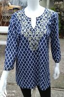 Women's Charter Club Size 14 XL Blue Gold Embroidered 3/4 Sleeve Tunic Top