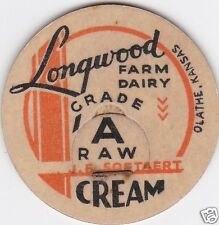 MILK BOTTLE CAP. LONGWOOD FARM DAIRY. OLATHE, KS. REPRODUCTION