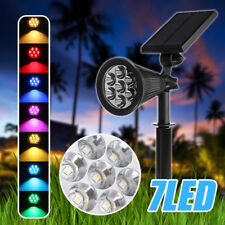 2x Solar 7 LED Spot Wall Light Outdoor Garden Lawn Yard Flood Lamp Waterproof UK