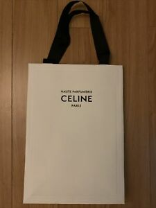 Auth Celine Paris White Paper Shopping Bag 9.75x13.75x4.5 Sz M Haute Parfumerie
