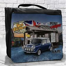 Personalised Blue Mini Cooper Classic Car Vintage Travel Hanging Wash Bag Gift