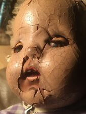 Creepy Baby Doll Haunted Rolling Eyes Scary Antique Doll
