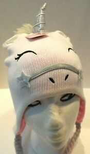 Claire's Girls Unicorn Knit Hat Sparkle White Pink Soft Bow Ears $16.99 NWT