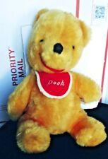 WINNIE THE POOH, RATTLE TEDDY BEAR.W/BIB. WALT DISNEY PRODUCTIONS MADE IN JAPAN