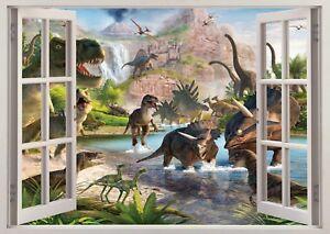 Dinosaurs 3D Window Wall Sticker Poster Decal Mural 988