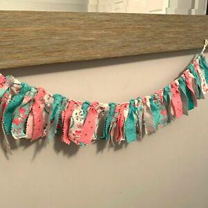 "Rag Garland Girls Bedroom Decor Teal Pink Butterflies 26"""