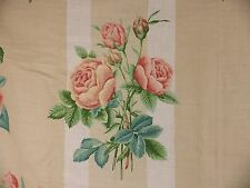 Shabby Chic Rose Floral Linen Fabric Lee Jofa Honfleur Curtain Remnant 3.6 m